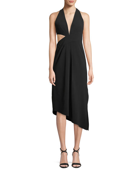 Asymmetric Draped Halter Dress