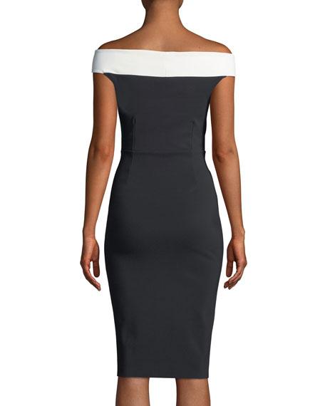 Lusinette Colorblock Off-Shoulder Cocktail Dress