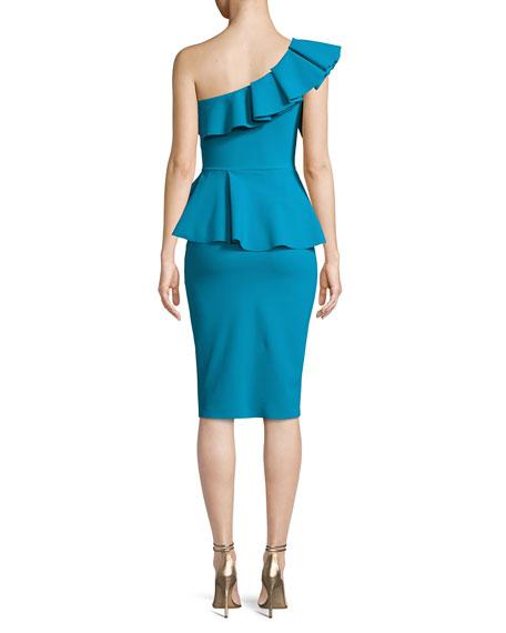Mika One-Shoulder Peplum Cocktail Dress