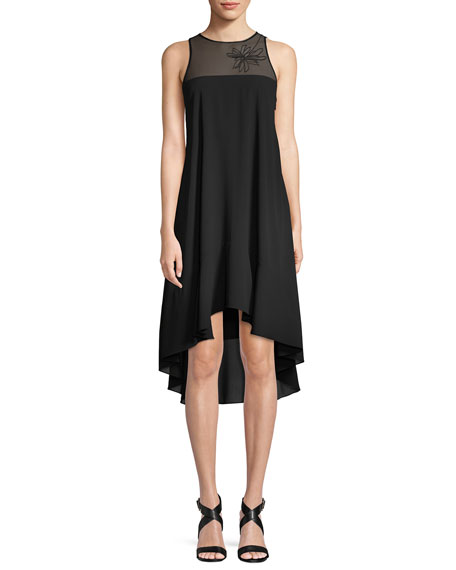 Halston Heritage Sleeveless Embroidered Flowy Dress
