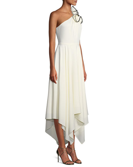 Ruffle One-Shoulder Crepe Gown