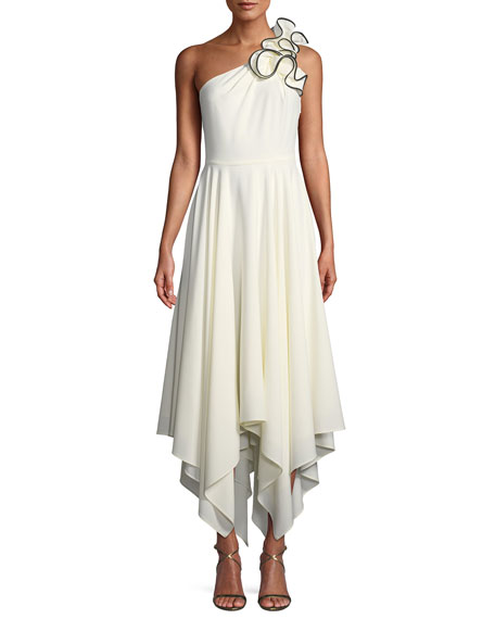 Halston Heritage Ruffle One-Shoulder Crepe Gown