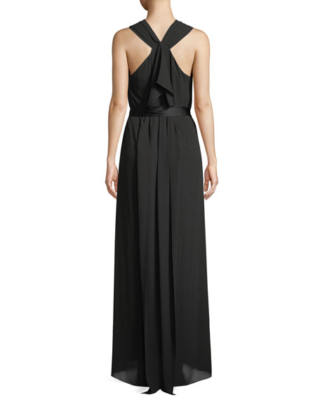 Sleeveless Flowy Gown w/ Sash