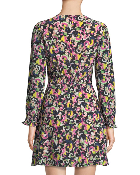 Eve Printed Long-Sleeve Mini Dress