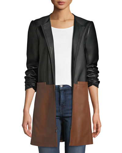 Colorblock Leather Zip-Front Topper