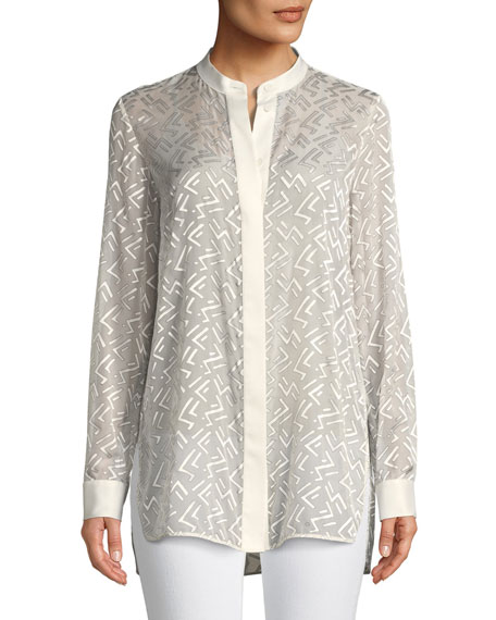 Brayden Succession Burnout Velvet Blouse, Plus Size