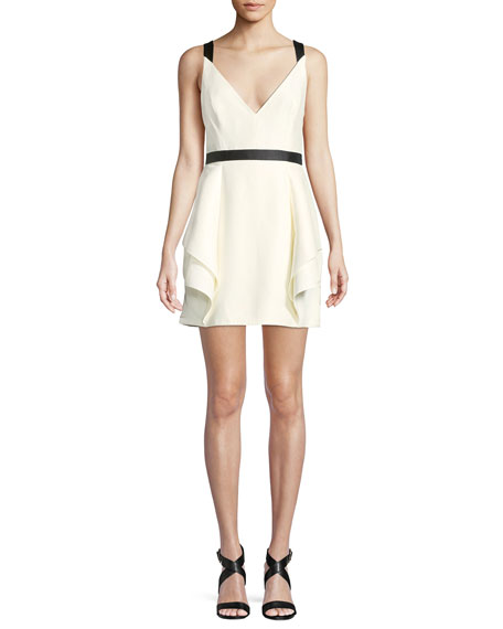 Halston Heritage Sleeveless Mini Dress w/ Dramatic Skirt