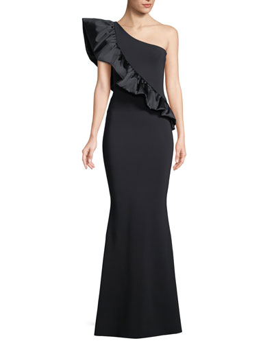 Marine One-Shoulder Satin-Ruffle Gown