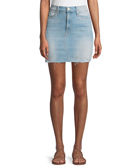 MOTHER Sacred Frayed Denim Mini Skirt