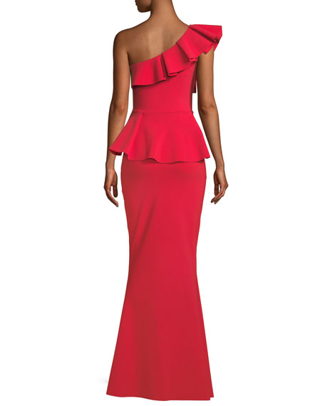 Mika Peplum One-Shoulder Gown