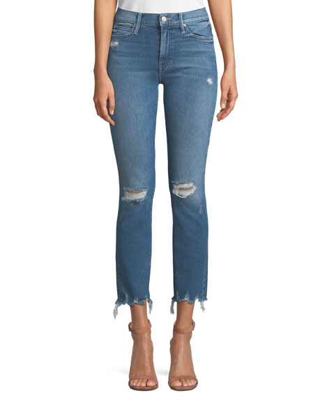 MOTHER The Rascal Distressed Ankle Skinny Jeans