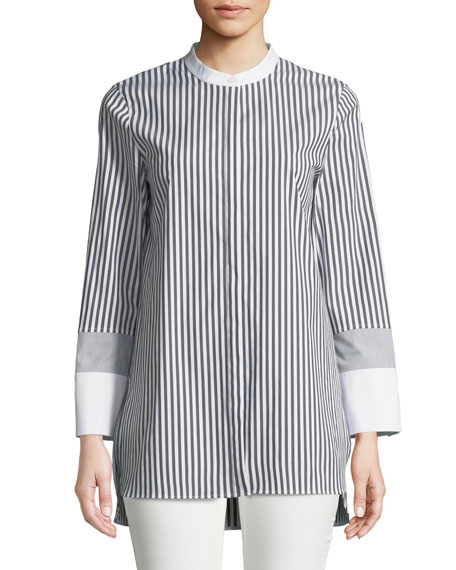 Marianne Saxony Stripe Poplin Blouse, Plus Size