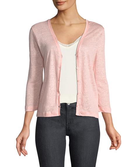 Linen Flat-Edge Cardigan Sweater