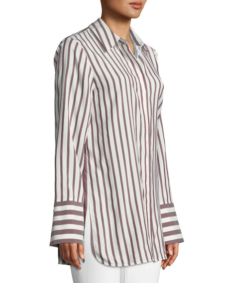 Waylon Showcase Micro-Stripe Silk Blouse, Plus Size