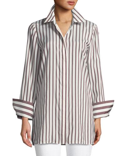 Waylon Showcase Micro-Stripe Silk Blouse, Plus Size