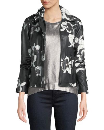 Floral-Print Leather Jacket