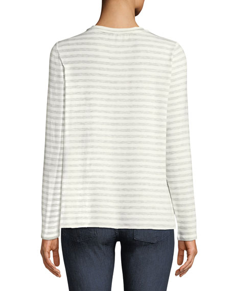 Long-Sleeve Striped French Terry Crewneck Tee