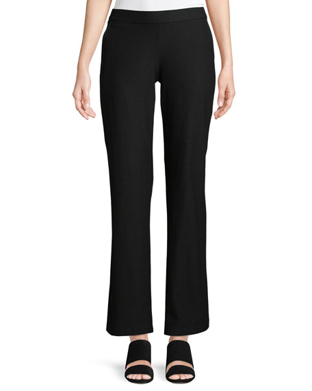 Washable Stretch-Crepe Straight-Leg Pants with Pocket