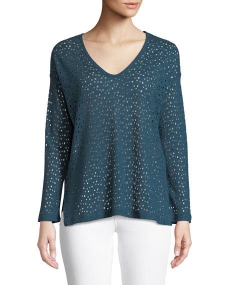 Majestic Paris for Neiman Marcus Linen Eyelet Long-Sleeve