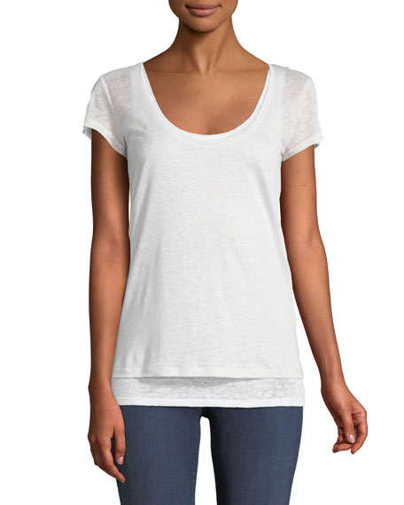 Majestic Paris for Neiman Marcus Layered Scoop-Neck Linen