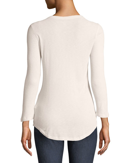Ribbed 3/4-Sleeve Henley Top
