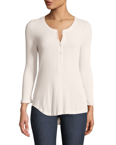 Majestic Paris for Neiman Marcus Ribbed 3/4-Sleeve Henley