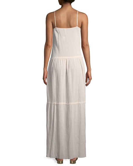 Scoop-Neck Sleeveless Cotton Gauze Maxi Dress