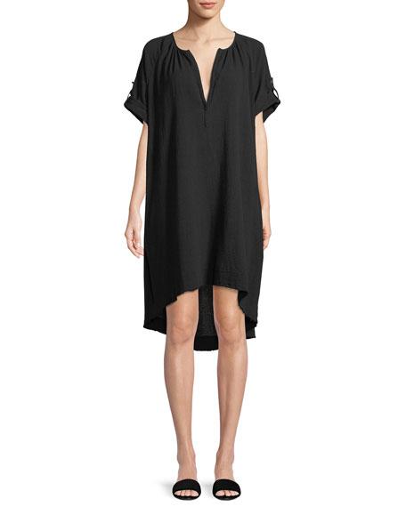 Split-Neck Short-Sleeve Cotton Gauze Short Dress