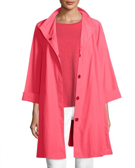 Weather-Resistant Snap-Front Coat, Plus Size