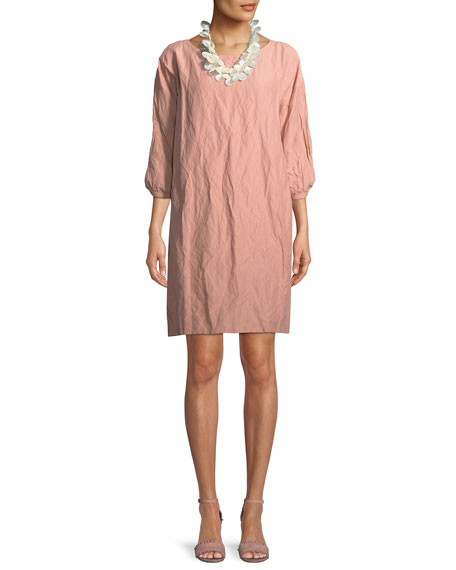 Textured Organic Cotton-Blend Shift Dress