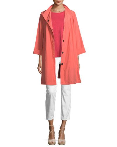 Weather-Resistant Snap-Front Coat