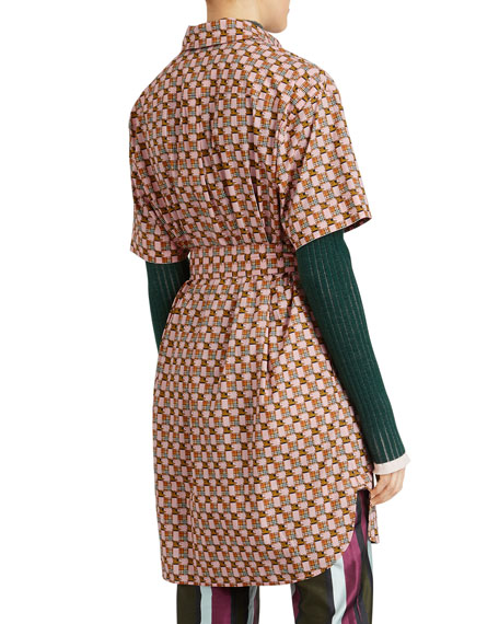 Addy Check Button-Front Shirtdress