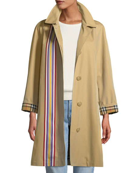 Burberry Eastborne Button-Front Striped Car Coat