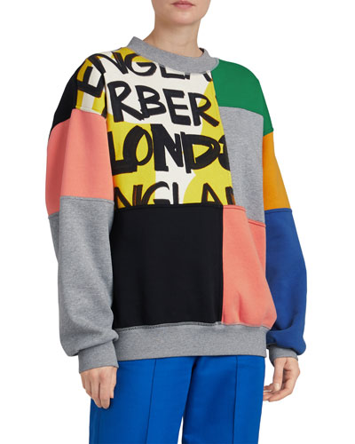 Colorblock Graffiti-Print Crewneck Sweatshirt