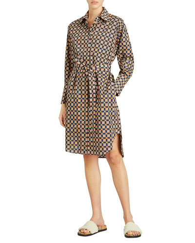 Isotto Check Button-Front Shirt Dress