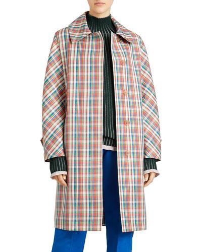 Quendon Check Button-Front Coat