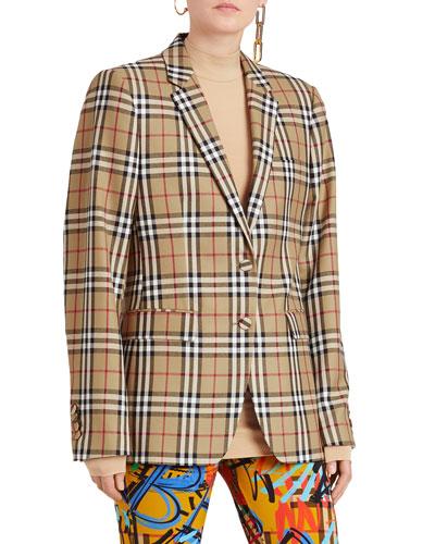 Snowdon Check Wool Two-Button Blazer
