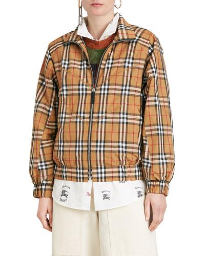 Harrington Vintage Check Topstitch Jacket