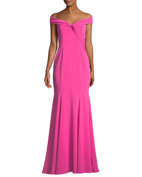 Hamilton Crepe Off-the-Shoulder Twist Gown