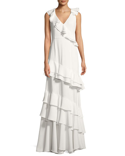 Kingston Asymmetric Ruffle Gown