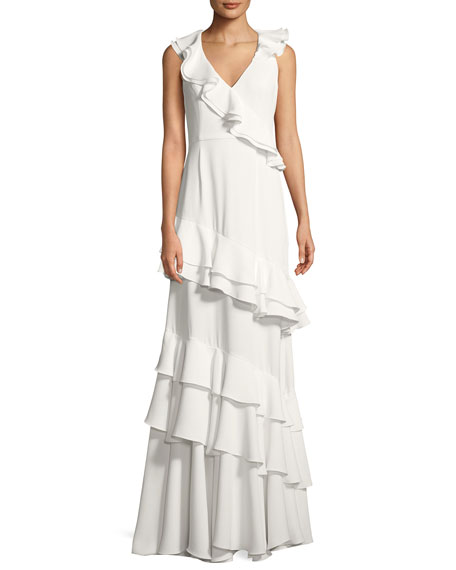 Kingston Asymmetric Ruffle Gown