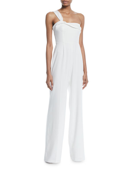 Belleville Crepe Jumpsuit w/ Twist Shoulder