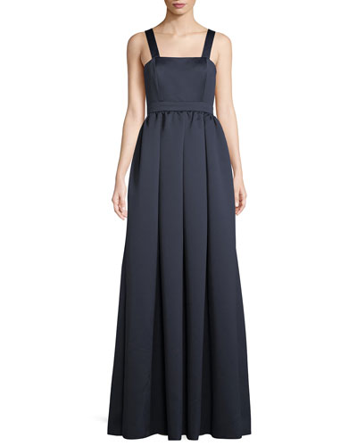 London Satin Open-Back Gown