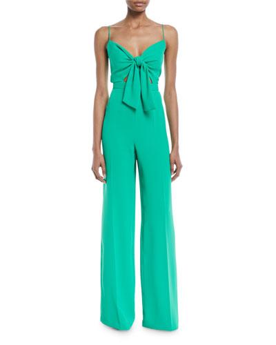Camrose Silky Crepe Jumpsuit w/ Tie Front