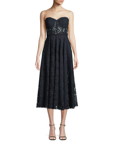 Jay Godfrey Burnaby Strapless Lace Midi Cocktail Dress