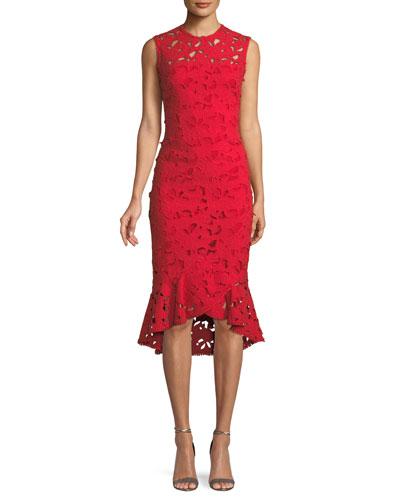 Drayton High-Low Lace Midi Dress w/ Flounce Hem