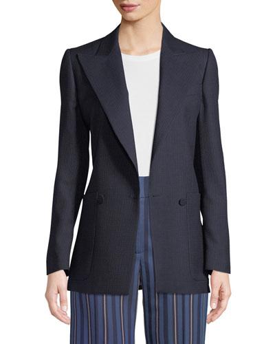 Leamington Pindot Wool Single-Button Jacket