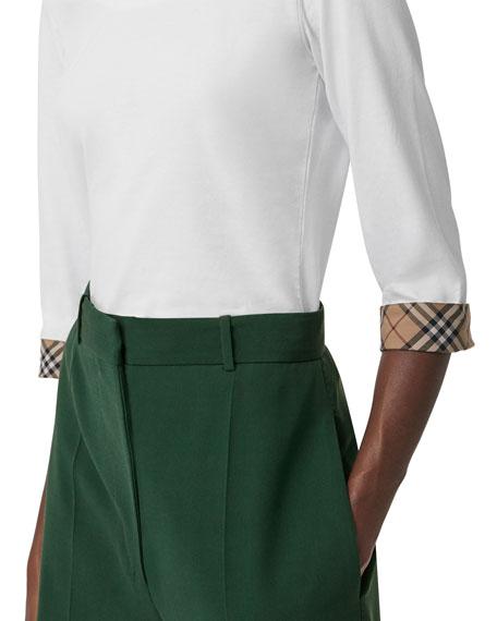3/4-Sleeve Check-Cuff Cotton Tee