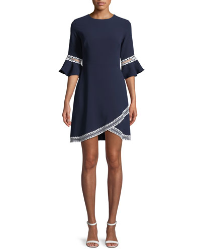 Val Tulip-Sleeve Dress w/ Contrast Trim