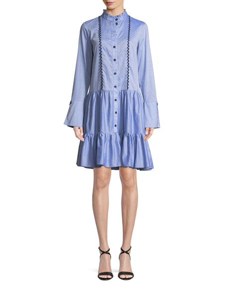 Dallas Long-Sleeve Shirtdress in Chambray